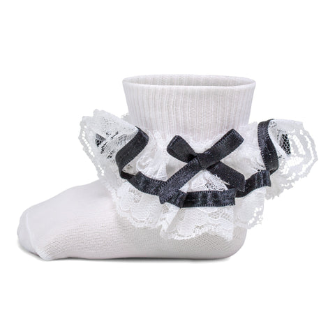 Two Feet Ahead - Socks - Girl's Ruffled Ribbon Lace Anklet