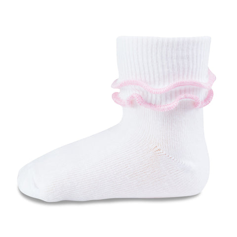 Two Feet Ahead - Socks - Girl's Double Ripple Edge Anklet