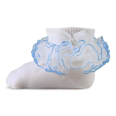 Two Feet Ahead - Socks - Girl's Pageant Lace Tutu Anklet with Pearl Bow (1451)