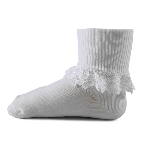 Two Feet Ahead - Socks - Girl's Nylon Floral Heirloom Anklet (1414)
