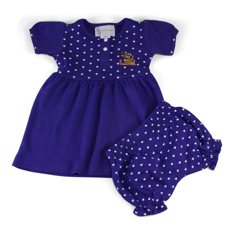 Two Feet Ahead - LSU - LSU Girl's Heart Dress with Bloomers