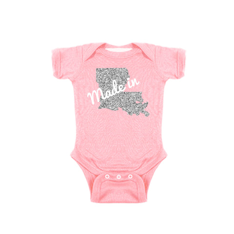Two Feet Ahead - Infant Clothing - Made In Louisiana Glitter Girl's Creeper