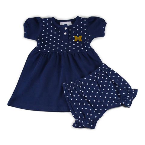 Michigan Girl's Heart Dress with Bloomers