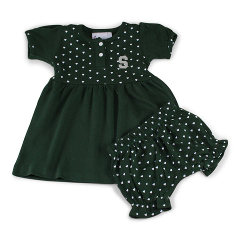 Two Feet Ahead - Michigan State - Michigan State Girl's Heart Dress with Bloomers