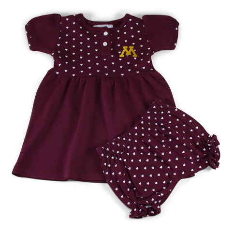 Two Feet Ahead - Minnesota - Minnesota Girl's Heart Dress with Bloomers