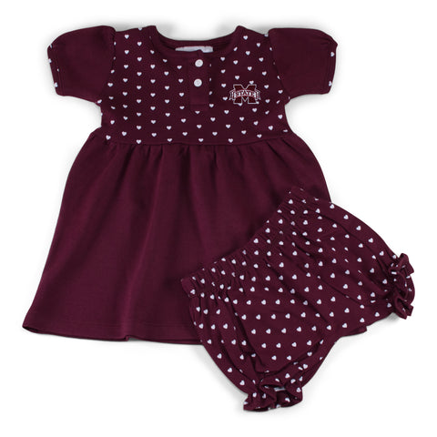 Two Feet Ahead - Mississippi State - Mississippi State Girl's Heart Dress with Bloomers