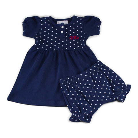 Two Feet Ahead - Ole Miss - Ole Miss Girl's Heart Dress with Bloomers