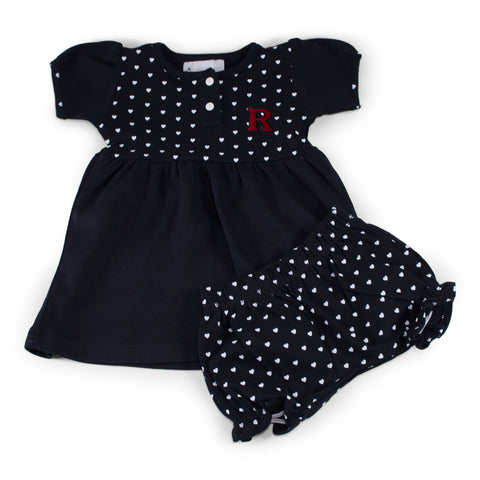 Two Feet Ahead - Rutgers - Rutgers Girl's Heart Dress with Bloomers