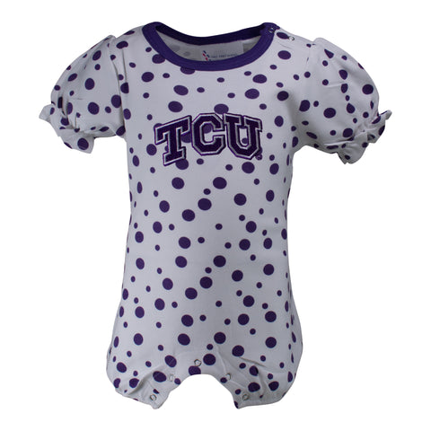 Two Feet Ahead - Texas Christian University - Texas Christian University Polka Dot Girl's Romper