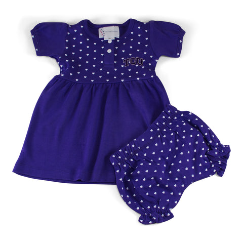 Two Feet Ahead - Texas Christian University - Texas Christian University Girl's Heart Dress with Bloomers