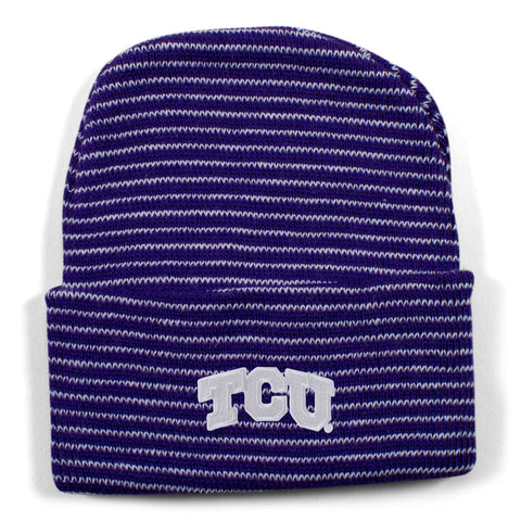 Two Feet Ahead - Texas Christian University - Texas Christian University Stripe Knit Cap