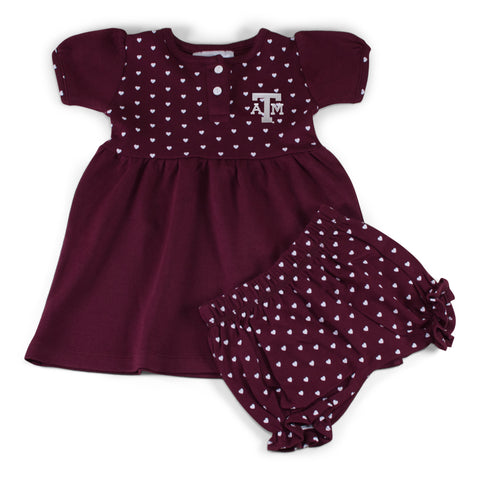 Two Feet Ahead - Texas A&M - Texas A&M Girl's Heart Dress with Bloomers