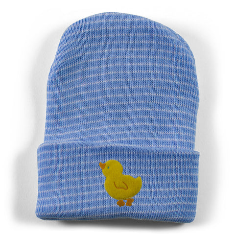 Two Feet Ahead - Accessories - Yellow Duck Newborn Stripe Knit Cap