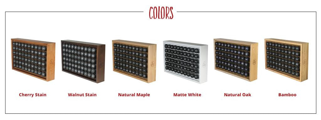 6 finishes- bamboo, oak, natural maple, cherry, walnut and white
