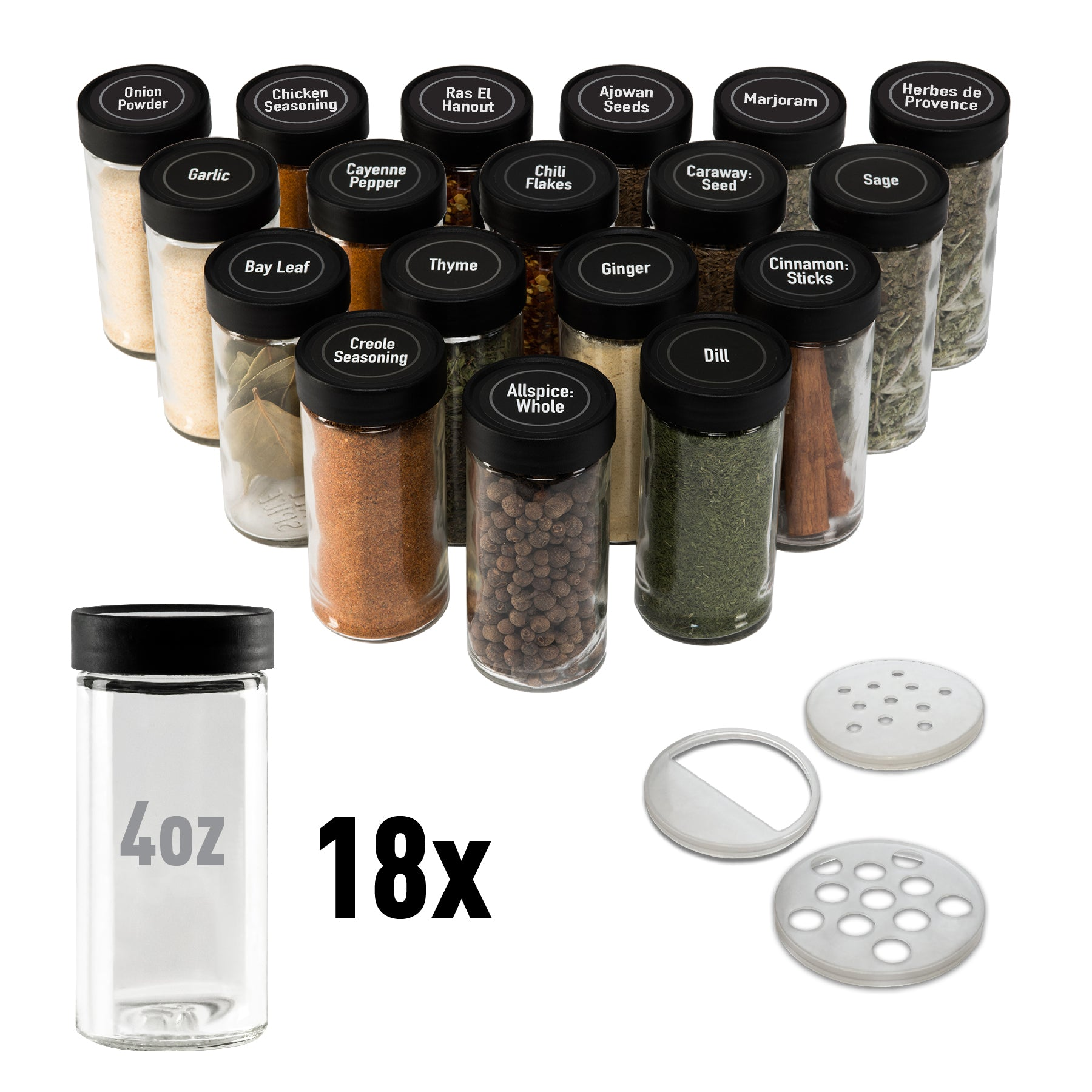 4oz Spice Jars - 18-Pack