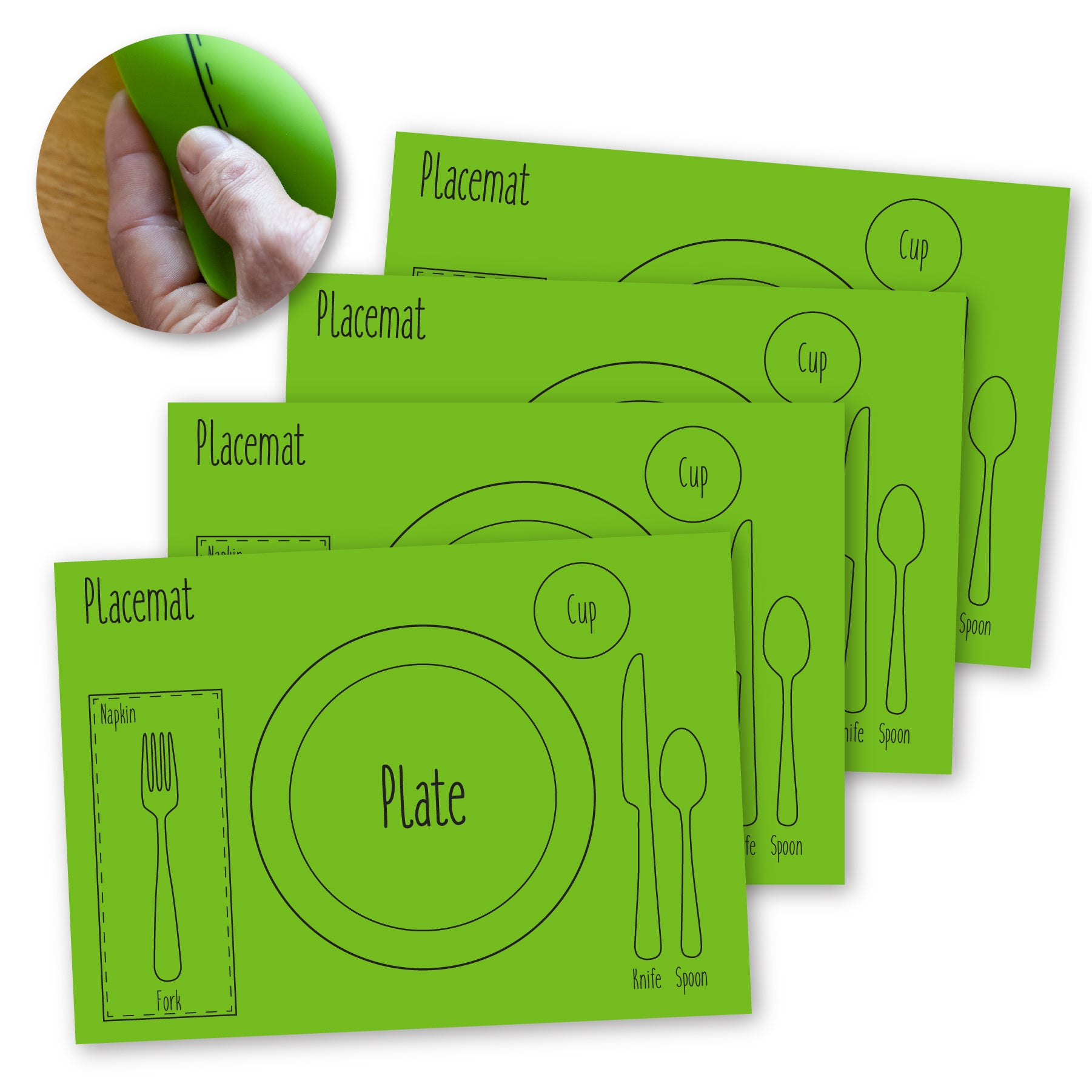 Kids Table-Setting Placemat, Silicone