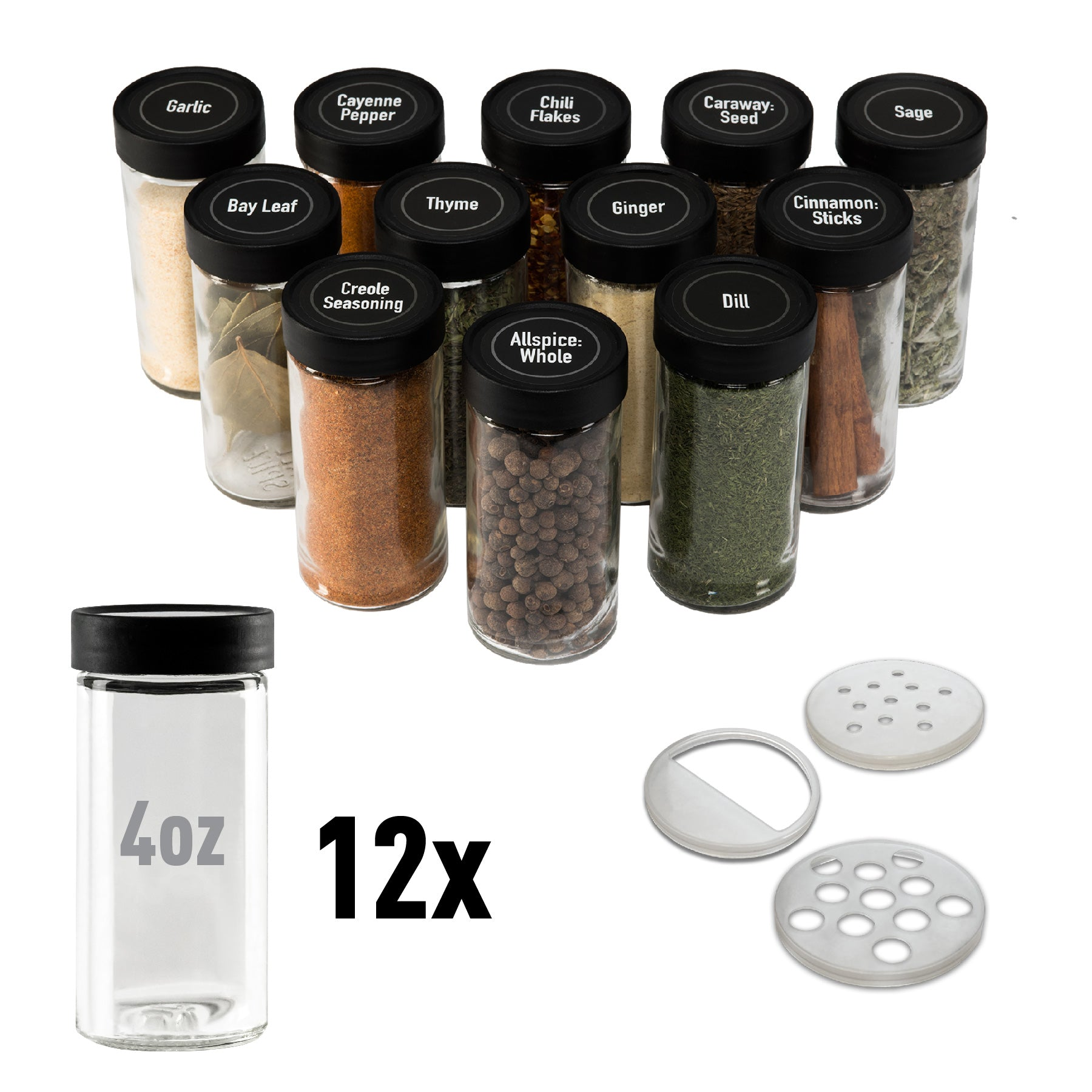 4oz Spice Jars - 12-Pack