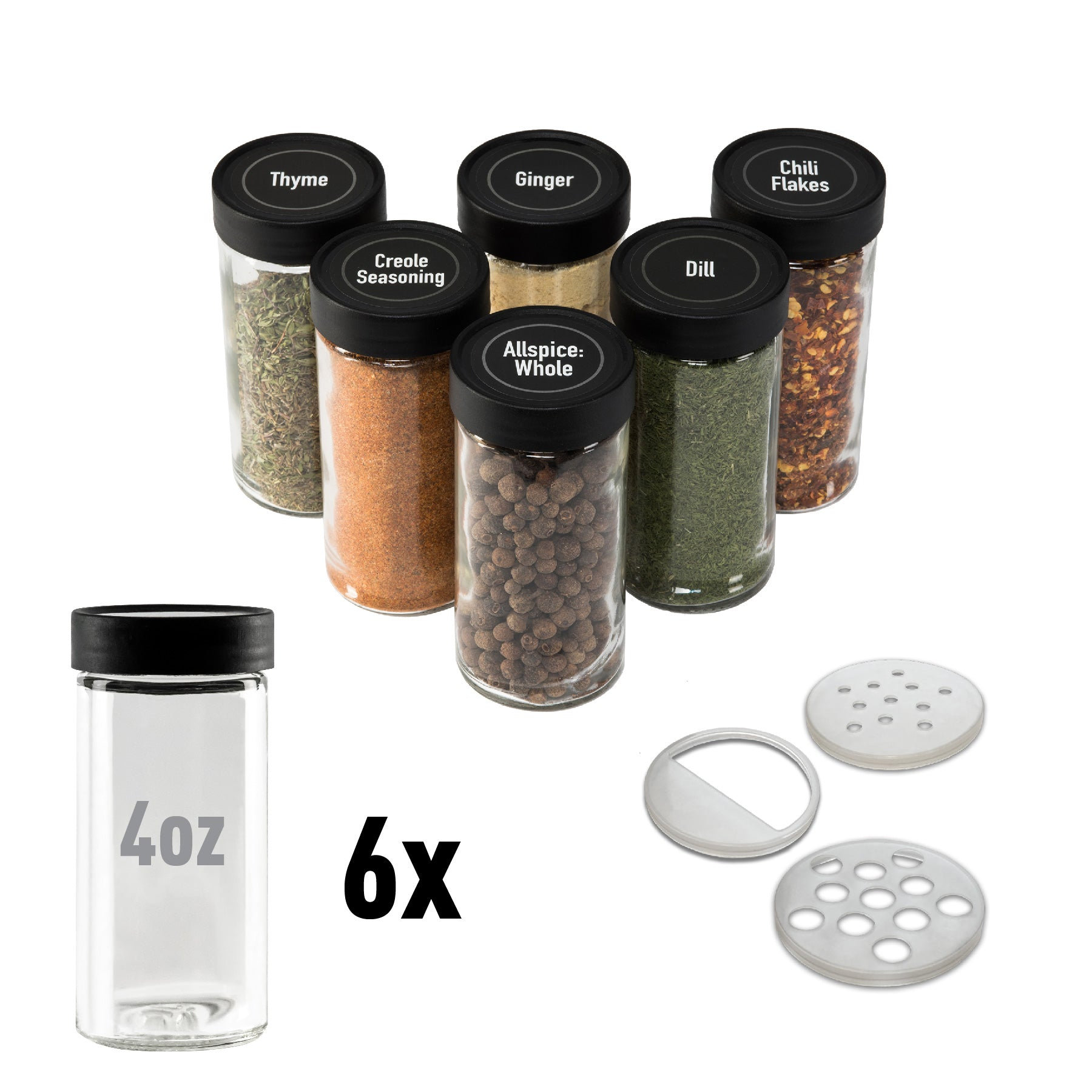4oz Spice Jars - 6-Pack
