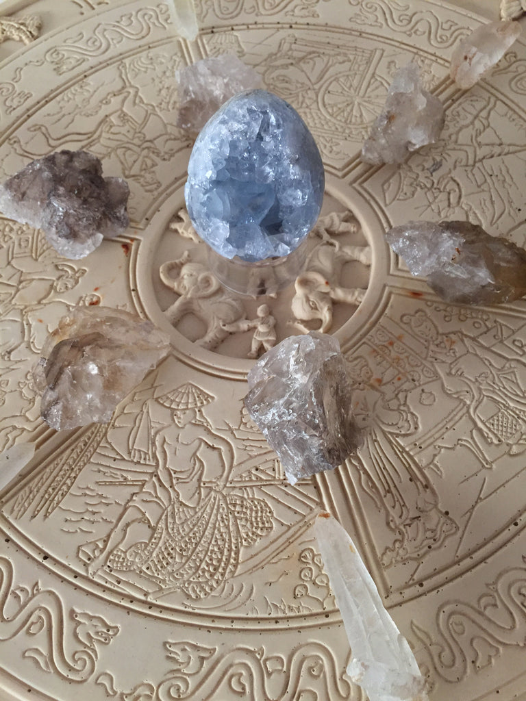 The Peace Feed Celestite crystal grid