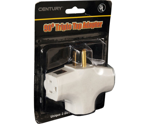 90 Degree Tri Tap Adapter, White - HydroGreenGrow.com