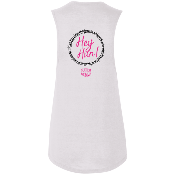 Hey Hun Barbwire Ladies Flowy Muscle Tank S-2X