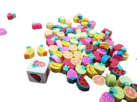 Mini fruit erasers with fruit dice