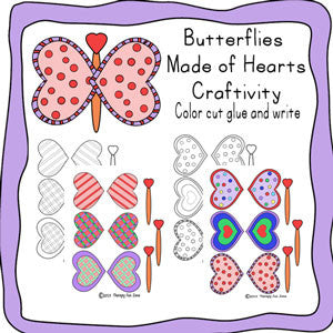 Heart Butterflies for Cutting, coloring, and gluing