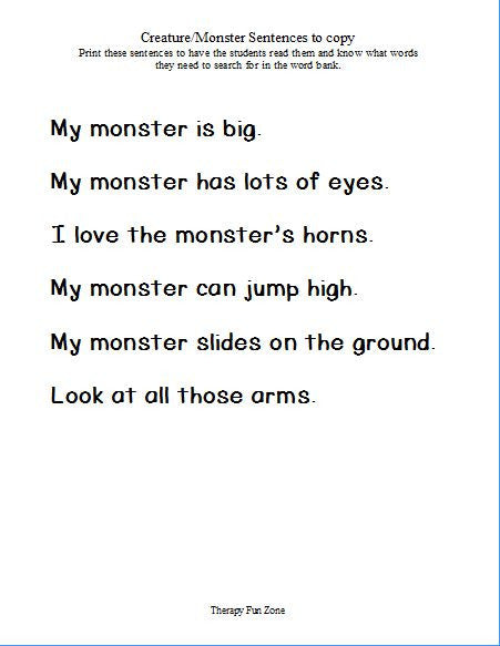 Monster Sentences to Copy