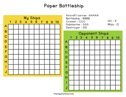 Paper Battleship for Writing Practice