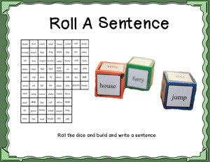 Roll a Sentence Dice Game Digital Download