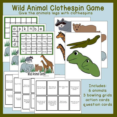 Wild Animal Clothespin Game