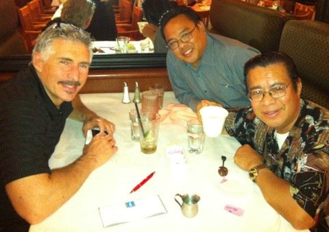 Kingstone CEO Art Ayris  with veteran Kingstone artist Danny  Bulanadi and his agent Frank Baldevarona