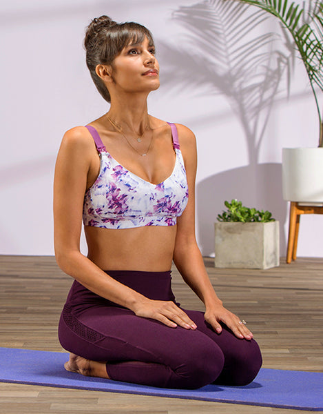 A supportive nursing bra and sports bra for nursing and pumping moms who are exercising and breastfeeding in The Bitsy