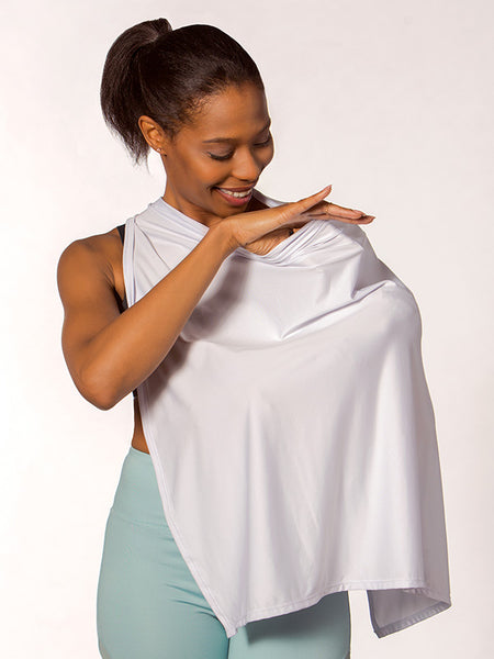 A breastfeeding bra and sports bra for nursing in Black that comes with a privacy cloth