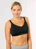 A no wire nursing bra and postpartum bra for hands free pumping in Black