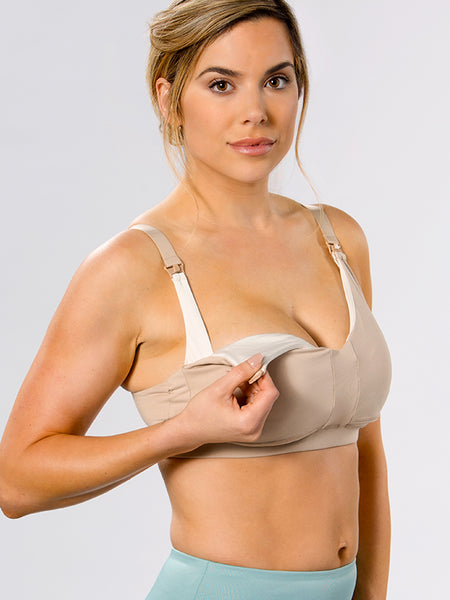 Super comfortable and supportive nursing bra in Nude