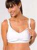 Supportive nursing bra for moms who breastfeed in White