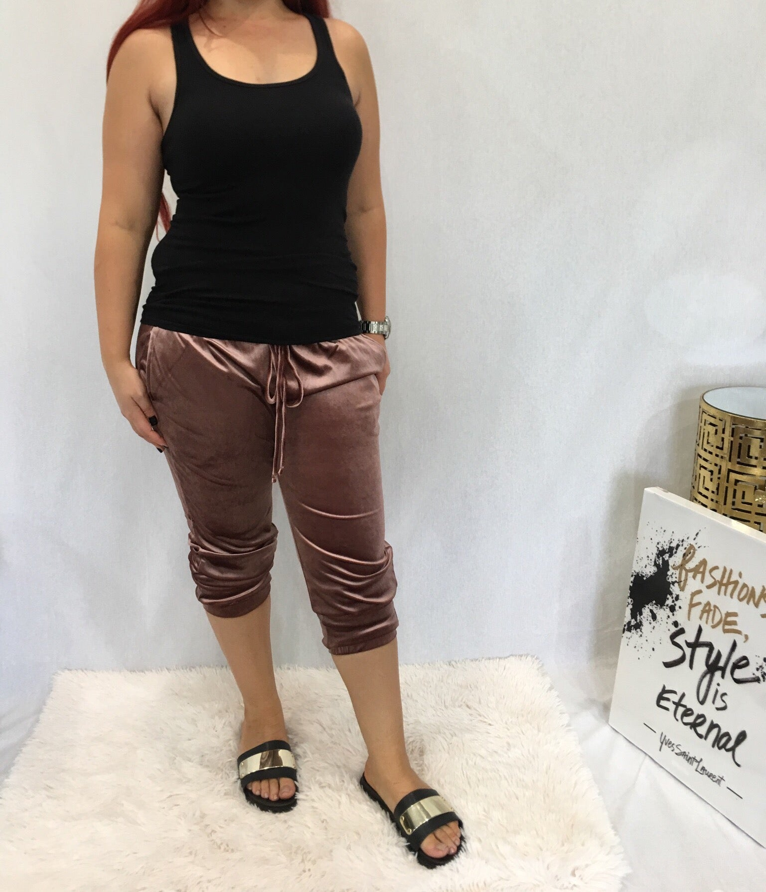 Mauve Colored Velvet Jogger Pants