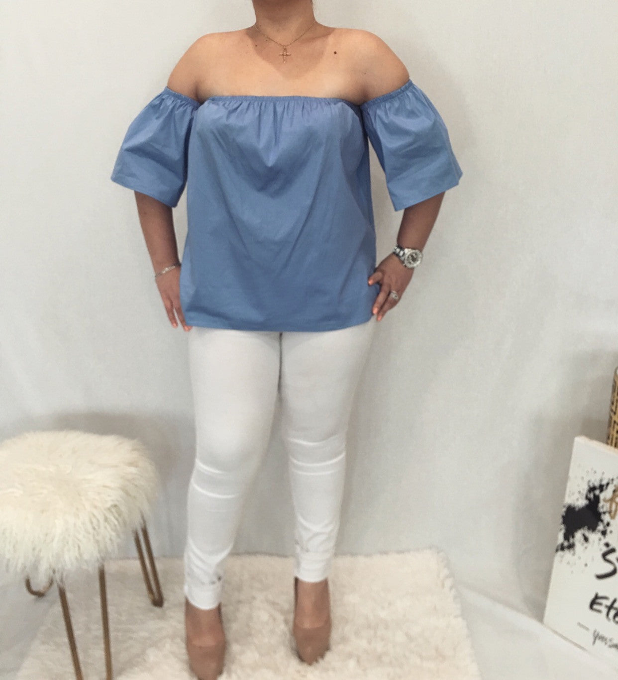 Light Blue Off The Shoulder Elastic Blouse