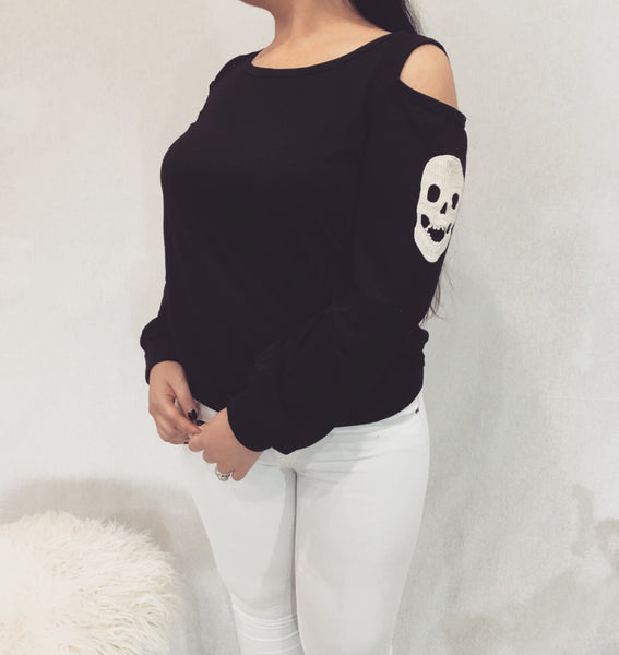 Cold Shoulder Skull Top