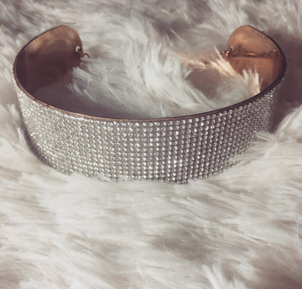 Gold Diamond Choker Cuff