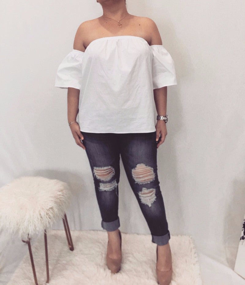 White Off The Shoulder Elastic Blouse