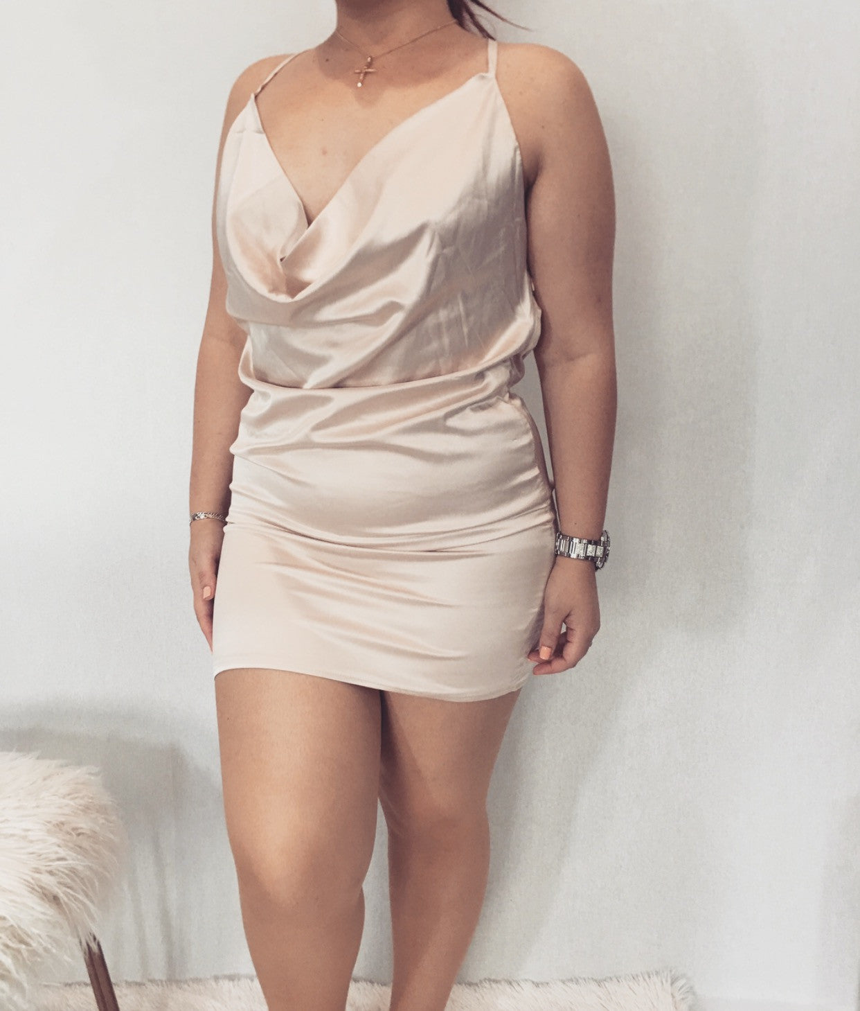 Cowl Neck Satin Dress With Adjustable Straps