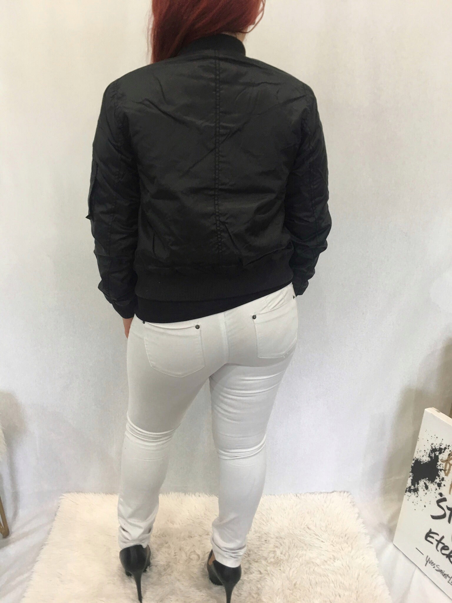 Padded Black Bomber Jacket