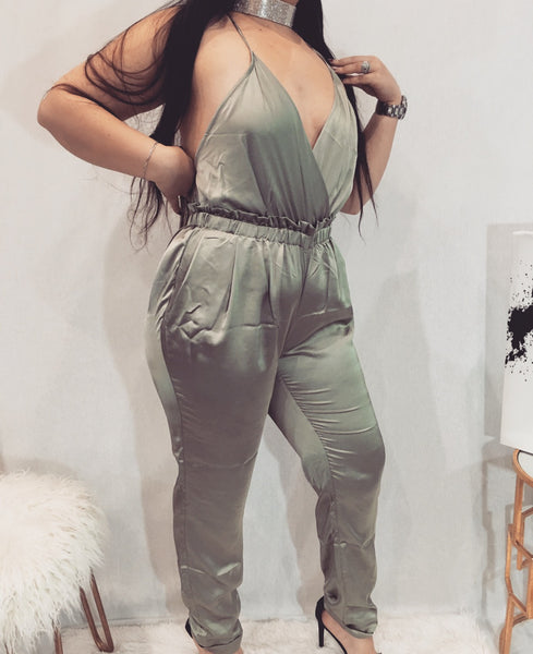 Olive Green Satin Jumpsuit