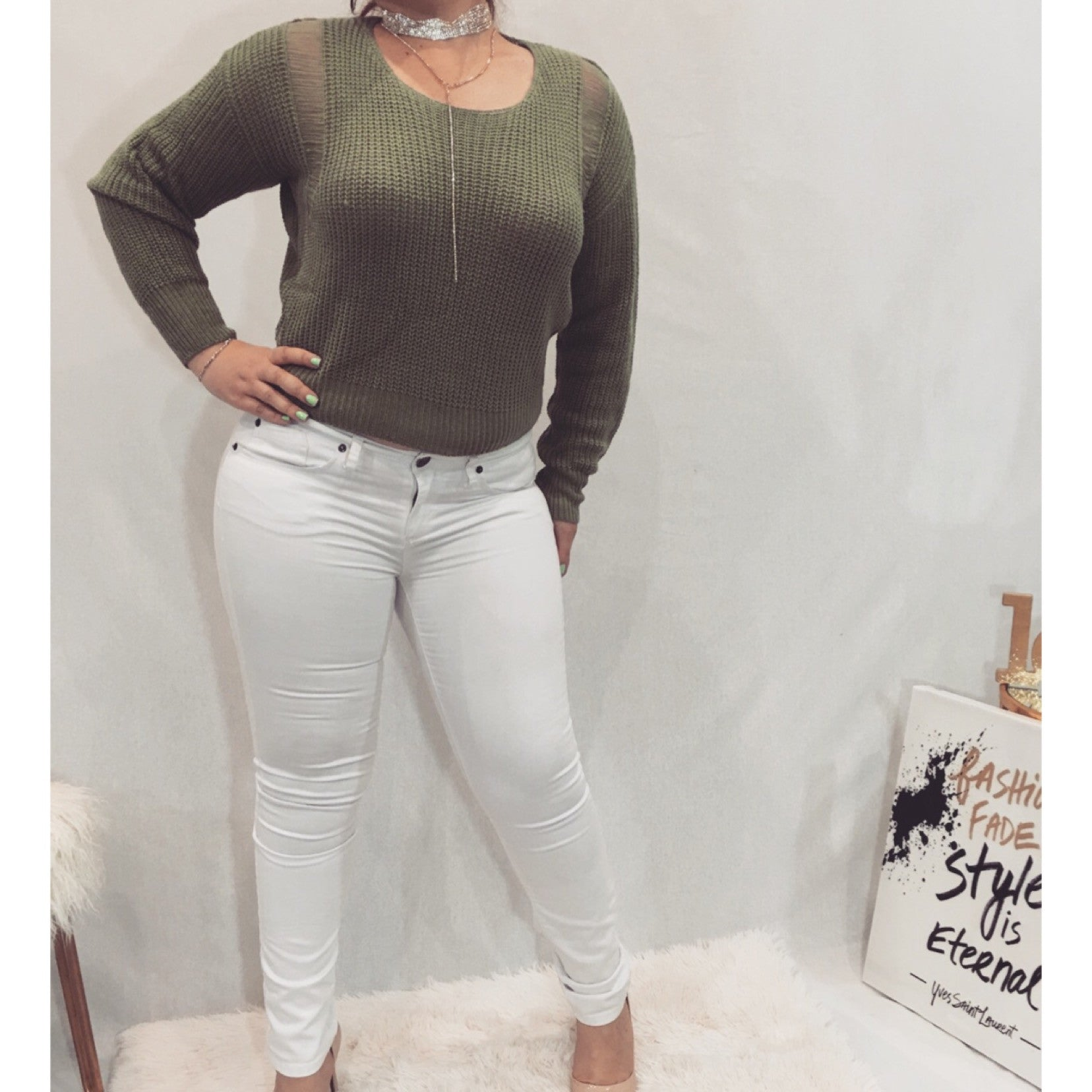 Lightweight Olive Green Knit