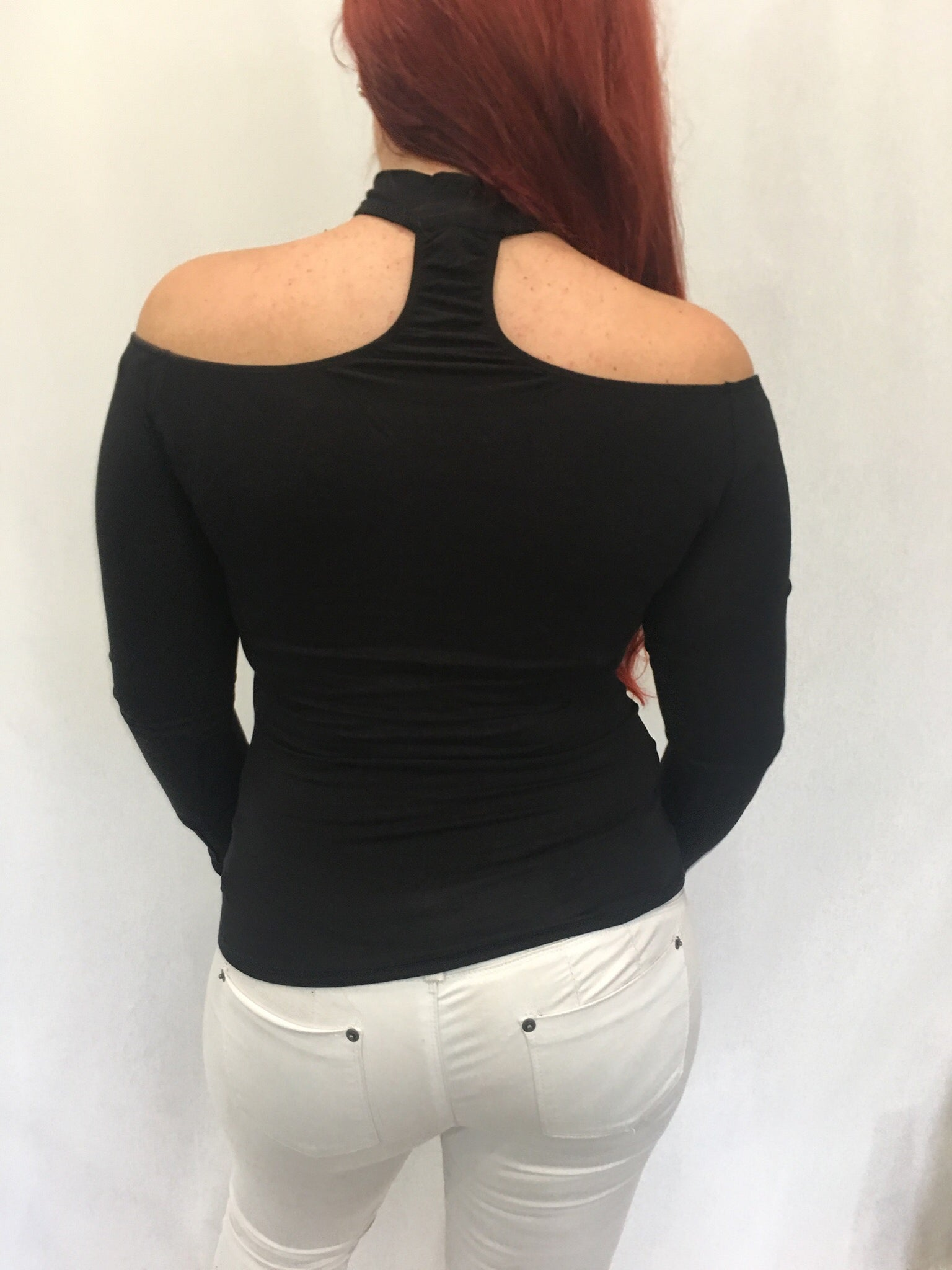 Long Sleeve Off The Shoulder Black Choker Top