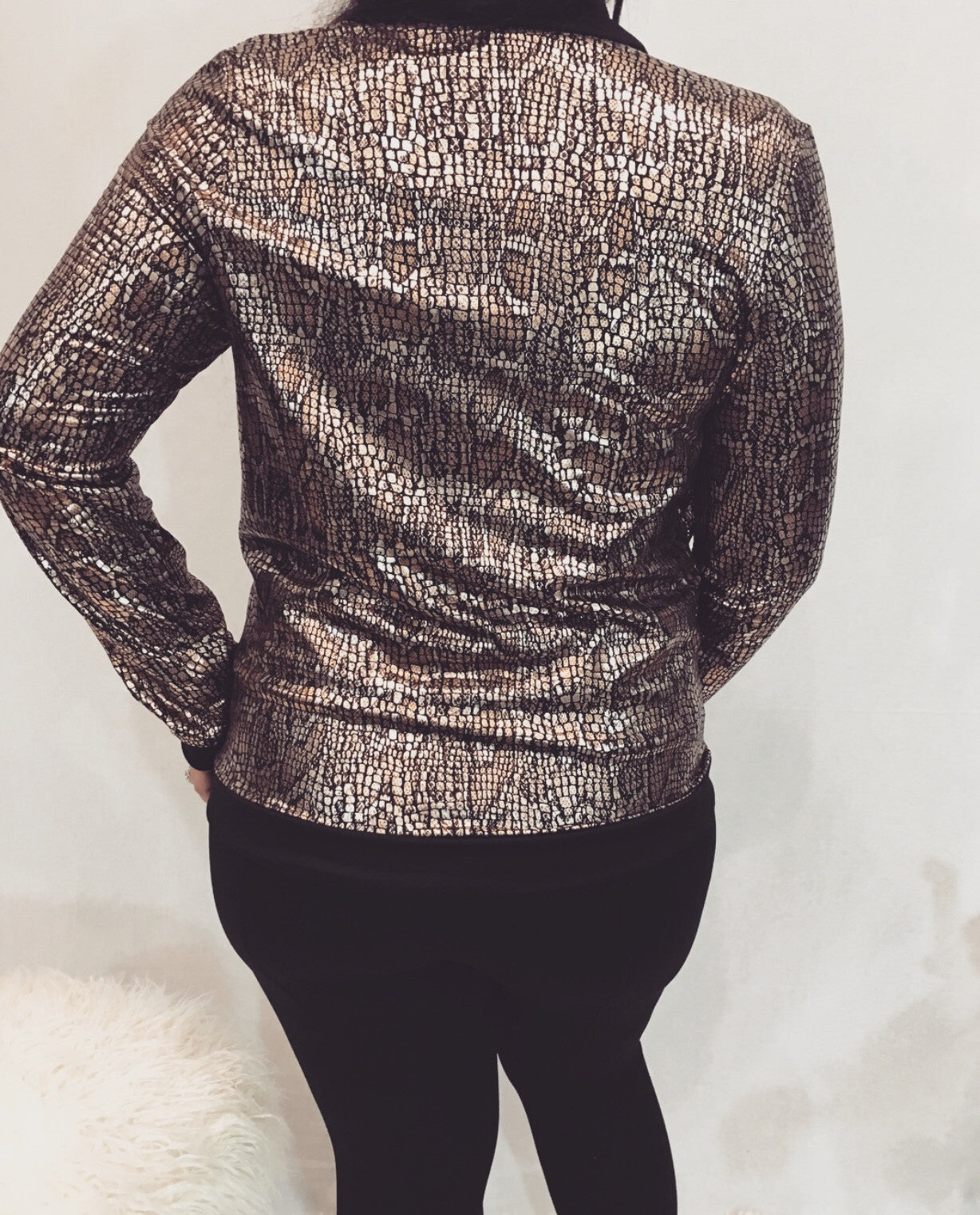 Metallic Gold Bomber Jacket