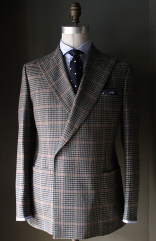 Unstructured Double Breasted Multi Guncheck Sport Coat