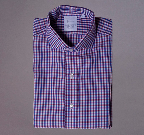 Blue/Pink/Red Multi Check shirt with English Spread Collar